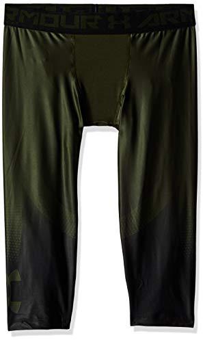 Under armour, heatgear armour2.0 3/4 leggingnov, pantacollant, uomo, verde (artillery green/nero), xl