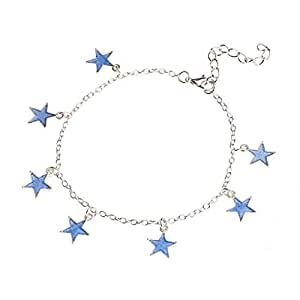 Damen Leuchtendes Fünfzackiger Sterne Fußkettchen Fußkette Strand Sommer Schm