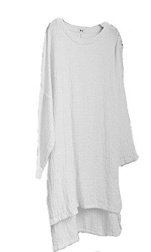 EMIN Damen Oberteile Damen Rundhals Asymmetrische Freizeit T-Shirt Bluse Langarm Lose Oberteil Tunika Weiß