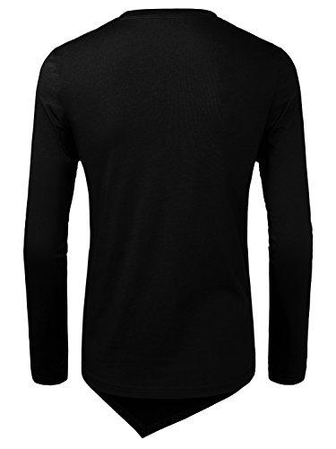 HEMOON Maglietta Top da Uomo in Cotone Manica Lunga Nero