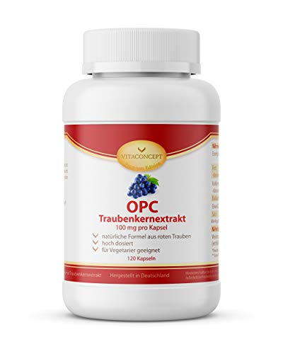 OPC Traubenkernextrakt Kapseln - hochdosiertes, reines OPC, 120 vegane Kapseln - 100% natürliches Antioxidans - Premiumqualität Made in Germany - VITACONCEPT