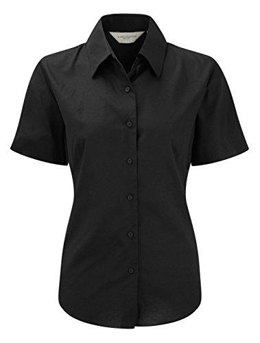 Russell Collection Damen Bluse Short Sleeve Shirt Oxford, pflegeleicht (Button Oxford Down Uniform)