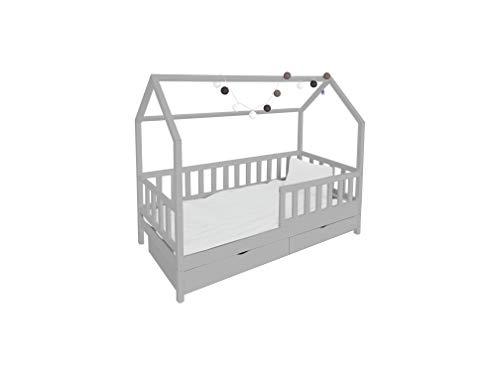 Children's Beds Home Letto Singolo - Capanna per Bambini Bambini Toddler Junior con cassetti ma Senza Materasso Incluso (140x70, Grigio)