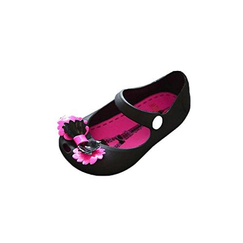 Clode® Nette Mädchen Baby Kind ausführliche Gelee Bowknotfisch Mund Sandelholzaufladungen Schuhe Schwarz