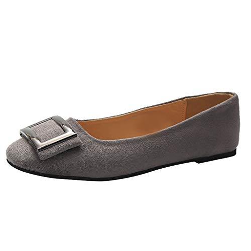 LILIGOD Damen Flache Einzelne Schuhe Frauen Loafers Sommer Karree Metall Müßiggänger Casual Party Schuhe Elegant Damenschuhe Faule Schuhe Bootsschuhe Bequem Freizeitschuhe