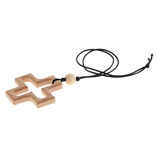 B Baosity Baby Natürliche Holz Zahnenring Ring Häkeln Perlen Kamera Muster Teether Spielzeug - Kreuz -