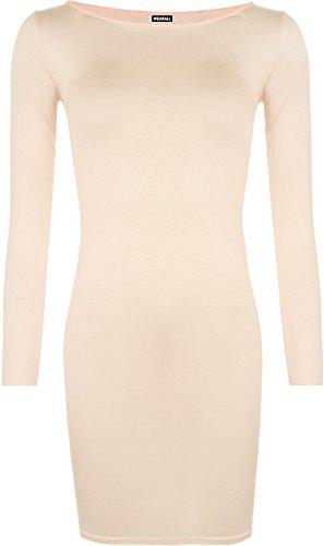 WearAll - Damen Minikleid Langarm - Pfirsich - 48-50
