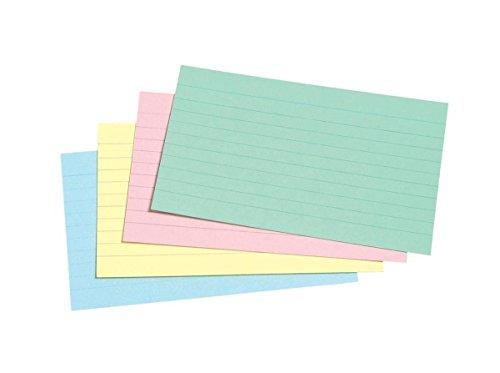 A5sortierte Farben Karteikarten 10mm gefüttert breit fein Linien auf beiden Seiten bedruckt 200Stück = 400Seiten.–von Party Decor
