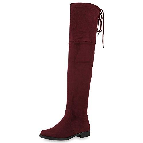 napoli-fashion Damen Overknees Leder-Optik High Stiefel Boots Basic Look Schuhe Dunkelrot 39 Jennika