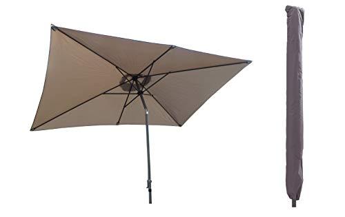 Pure Home & Garden Sonnenschirm inklusive Schutzhülle mit Stab, Sunrise Protect Taupe, 300 x 200 cm, mit UV-Schutz 40 Plus,
