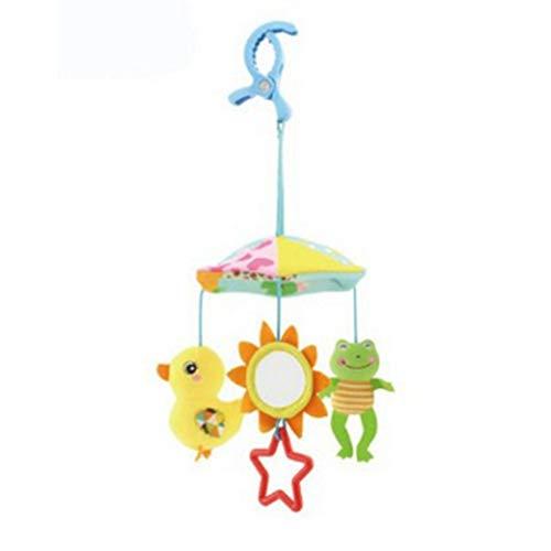 música linda DDG EDMMSjuguete campana de felpa suave traqueteo animal de la muñeca cochecito de bebé colgando del carro que hacen girar los niños juguete del pato bebé recién nacido y la rana
