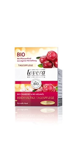 lavera Reichhaltige Tagespflege Bio-Cranberry und Bio-Arganöl - Gesichtscreme vegan 1er Pack 30ml
