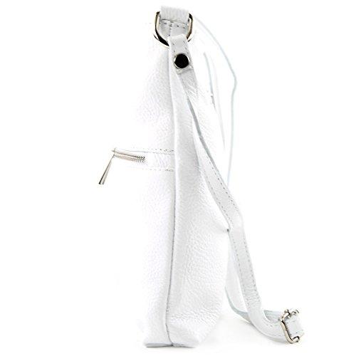 modamoda de - ital. Ledertasche Crossover Schultertasche Damen Umhängetasche Leder T144 Weiß