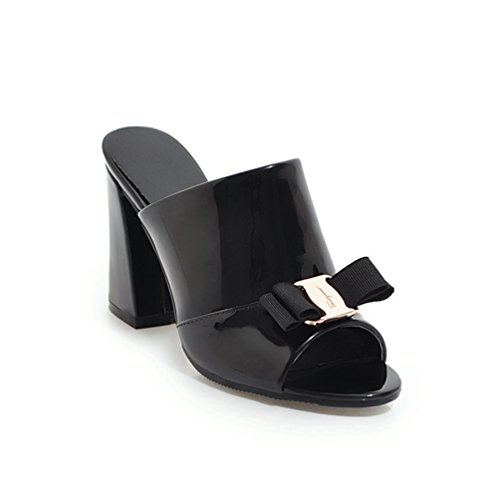 Mode Bowknot Heel Slide Sandalen für Frauen Peep Toe Blockabsatz Glitter Kleid Keile ()