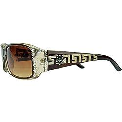 GIANNI MILANO schmale Damen Sonnenbrille Strass Glitzersteine Designer Look KL34 (Braun)
