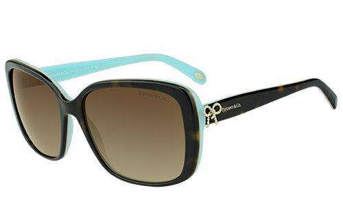 Tiffany & Co. Damen TF4092 Twist Collection Sonnenbrille, Braun (Havana Azure 81343B), One Size (Herstellergröße: 56)