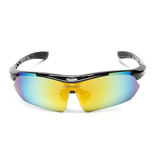 Aeici Sportbrille PC Sportbrille Herren UV 400 Motorrad Brille Polarisiert Schwarzes Mehrfarbig