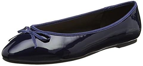 Evans Women's Almond Toe Ballet Flats, Blue (Navy), 8 UK