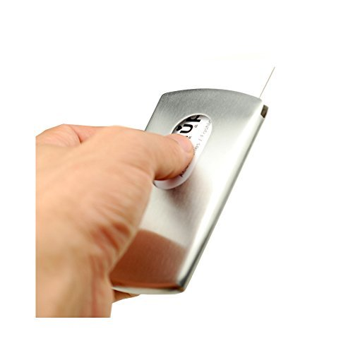 huluwa Visitenkartenhalter Edelstahl Business Card Case für herren und damen, Mode Hand Push