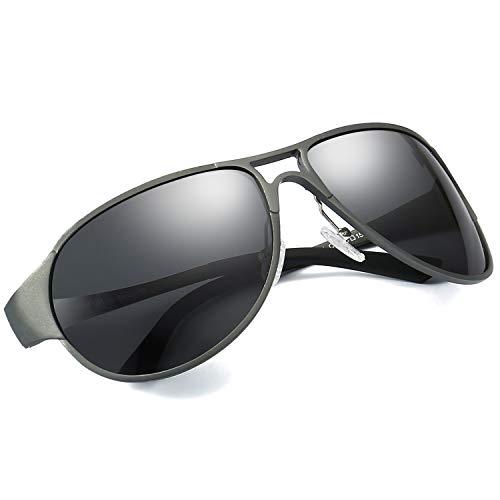 LVIOE Pilotenbrille Sonnenbrille Herren, Polarisierte 100% UVA & UVB Schutz, Groß Schwarz Metallrahmens für das Fahren Angeln Outdoor-Aktivitäten (Grau/Grau)
