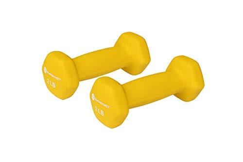 gymenist Paar Hanteln 2er Set Soft rutschfeste Grip Hanteln Paar mit Neopren, gelb (10 Pfund Hanteln Neopren)