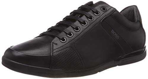 BOSS Herren Saturn_Lowp_Lux4 Sneaker, Schwarz (Black 001), 45 EU (Leder Athleisure)