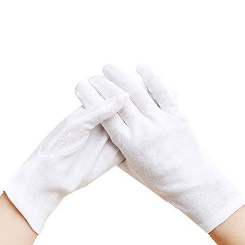 Kesote 6 Paar Baumwolle Handschuhe für Schmuck Münzenuntersuchung Inspektion (Weiß)