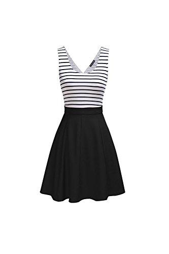 Frauen 1940er Jahre Vintage Streifen Colorblock Patchwork Swing Partykleid  Black