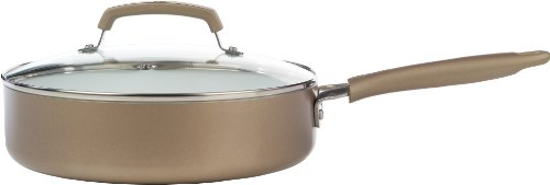 WearEver C94433 Pure Living Nonstick Ceramic Coating Scratch Resistant PTFE PFOA and Cadmium Free Dishwasher Safe Oven Safe Jumbo Cooker Cookware, 3.5-Quart, Gold Wearever Non-stick