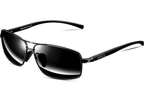 1a4363ebe2 ATTCL Men s Sunglasses Rectangular Driving Polarized Lens Al-Mg metal Frame  Ultra-light 2458