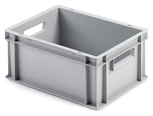 Euro-Stapelbox EB-417, 400x300x175 mm (LxBxH), grau ähnl. RAL7001, aus Polypropylen, lebensmittelecht, 2 Handgriffe, ca. 15 Liter Vol.