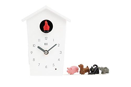 KOOKOO AnimalHouse blanco, pequeño reloj cuco de pared con sonidos de 5 animales de granja, grabaciónes naturales, cuco design moderno;