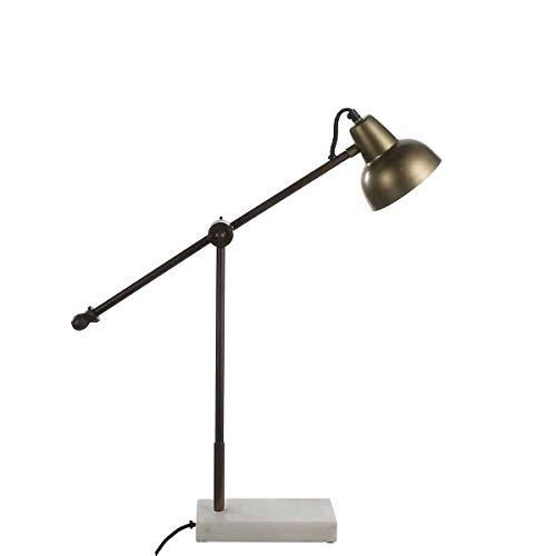 Casa Vivante Bürolampe Schreibtischlampe Vita Goldfarbe Eisen mit Marmorfuß - 60 x 12,5 x 58 cm - Bürotischleuchte - Tischlampe - Nachttischlampe - Case Study-metall