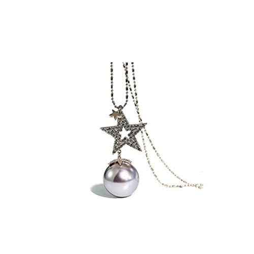 ZI LING SHOP- Pullover Kette lange Halskette weiblichen Modeschmuck Rock Anhänger Pentagonal Star Imitation Perle Anhänger Necklace