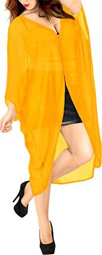 Gelber Kimono (LA LEELA Damen Sommer Boho Chiffon Kimono Stil Plain Tops Jacke Cardigan Blusen Beachwear Gelb_O972 DE Größe: 42 (L) - 52 (4XL))