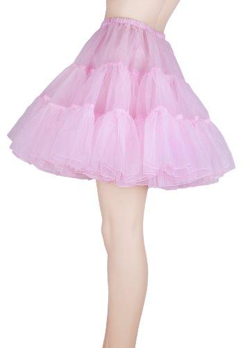 Flora 50s Rock n Roll Hoopless Short Skirt/Fancy Tutu Petticoat,18' Length (EU 32-40 (XS-M), rosa)