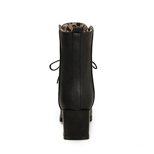 AgooLar Damen Mittler Absatz Gemischte Farbe Spitz Zehe Schnüren Stiefel mit Knoten Schwarz