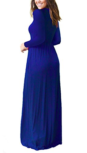 VIISHOW Frauen-lange Hülsen-lose einfache Maxi kleidet beiläufige lange T-Shirt Kleid mit Taschen Königsblau