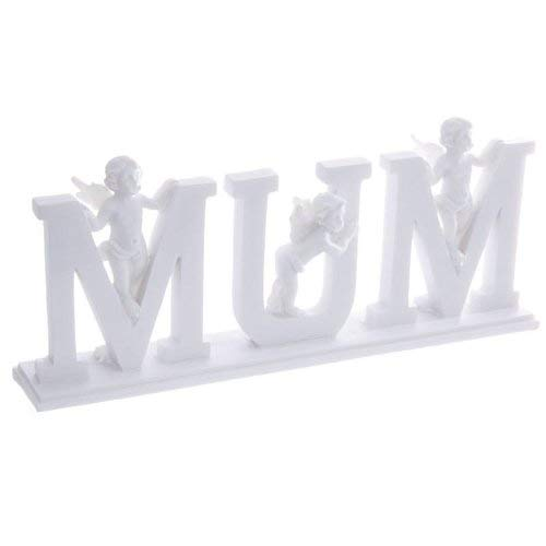 MUM Cherub Lettres sur Plinth - Ornement mères résine blanche jour la fête des mères cadeaux