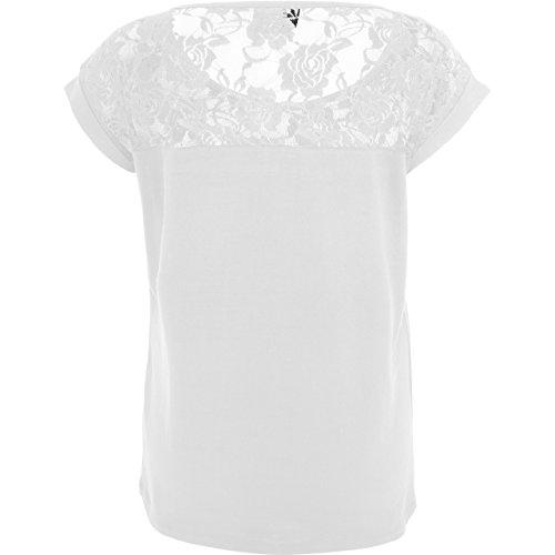 Einhorn Unicorn - sorry I`m late I saw a unicorn - modisches Damen T-Shirt mit Spitze Weiß