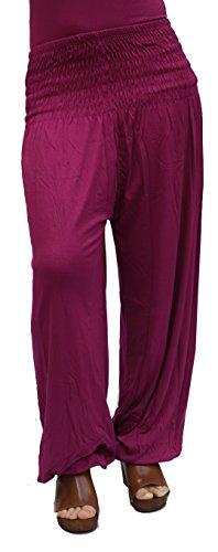 Damen Pumphose / Haremshose / Yoga Pant Stretch Pump Sport Aladin Hose (Dunkel-pink) (Aus Viskose Yoga-hose)