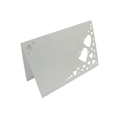 ROSENICE 50 Stück Tischkarten Platzkarten Herz Tischdekoration Hochzeit Dekoration Namenskarten
