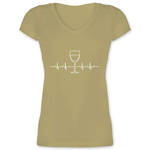 Symbole - Herzschlag Wein - XXL - Olivgrün - XO1525 - Damen T-Shirt mit V-Ausschnitt