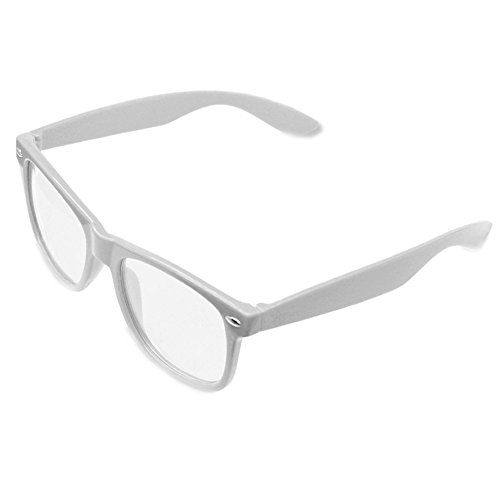 Nerd Brille Klarglas Geek Glasses Herren + Damen 80er Jahre Geek Fashion Brille (Weiß)
