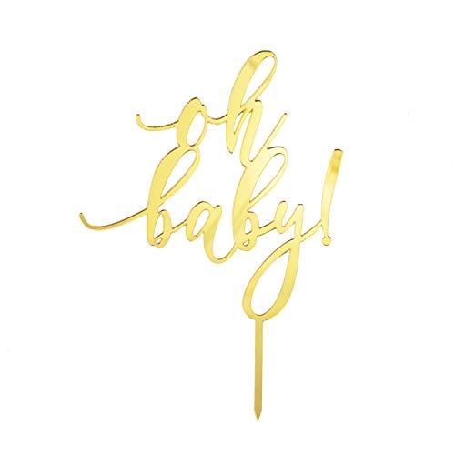 Oblique Unique® Torten Kuchen Topper oh Baby! Aufsatz für Baby Shower Party Deko Muffin Cupcake Dekoration Gold Silber - Farbe wählbar (Gold)
