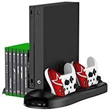 ertikaler Ständer, Controller Ladegerät vertikaler Ständer mit Kühlventilator, Spiele-Discs Aufbewahrung und 3 USB-Port-Ladestation für Xbox One X (5 in 1) ()