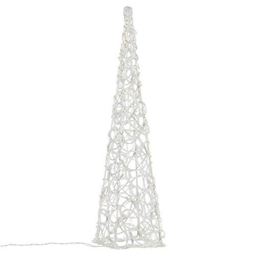 Nipach LED Pyramide Lichterkegel - Beleuchtung für Weihnachten innen außen - Acryl-Figur Batterie & Timer - 30 Leuchten weiß 60 cm hoch