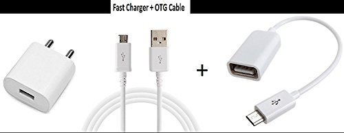 Casreen Coolpad Cool 1Wall Charger Accessory Combo 2 in 1 USB High Speed Charger Micro USB Cable + OTG Adapter For All Android Smartphones (White)