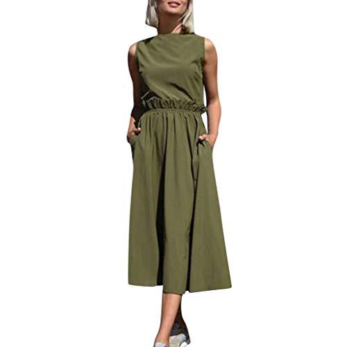 leider Damen V-Ausschnitt Strandkleider Einfarbig A-Linie Kleid Boho Knielang Kleid Ohne Zubehör ()