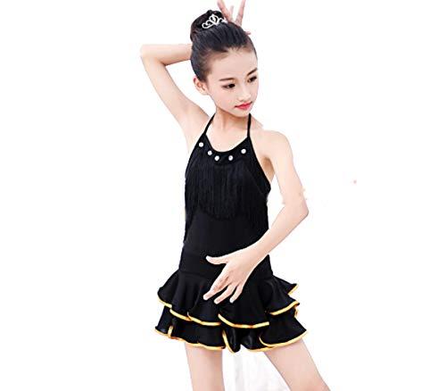 YZLL Latin Tanzkleid Kinder Ballsaal Salsa Tanzkleidung Outfits Kinderparty Bühnenbekleidung Kostüme,Black,130CM